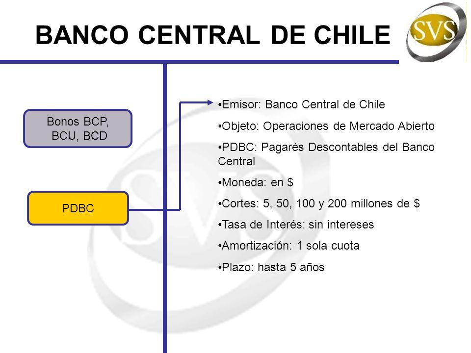 BANCO CENTRAL DE CHILE Bonos BCP, BCU, BCD PDBC Emisor: Banco Central de Chile Objeto: Operaciones de Mercado Abierto PDBC: Pagarés Descontables del B