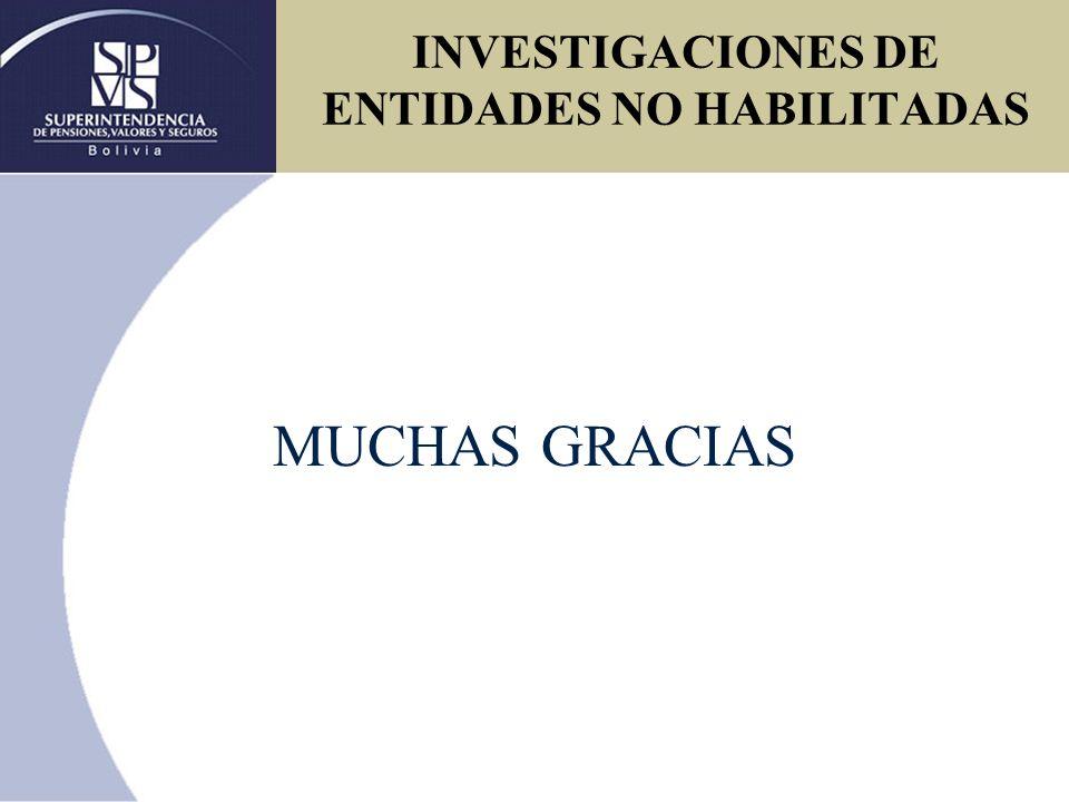 MUCHAS GRACIAS INVESTIGACIONES DE ENTIDADES NO HABILITADAS