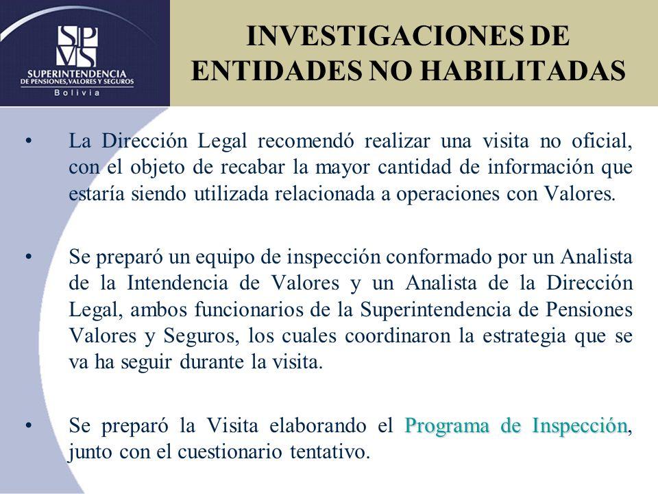 PROGRAMA DE TRABAJO DE INSPECCION ESPECIAL A LA EMPRESA BOLIVIAN FINANCIAL INVESTMENT S.A.