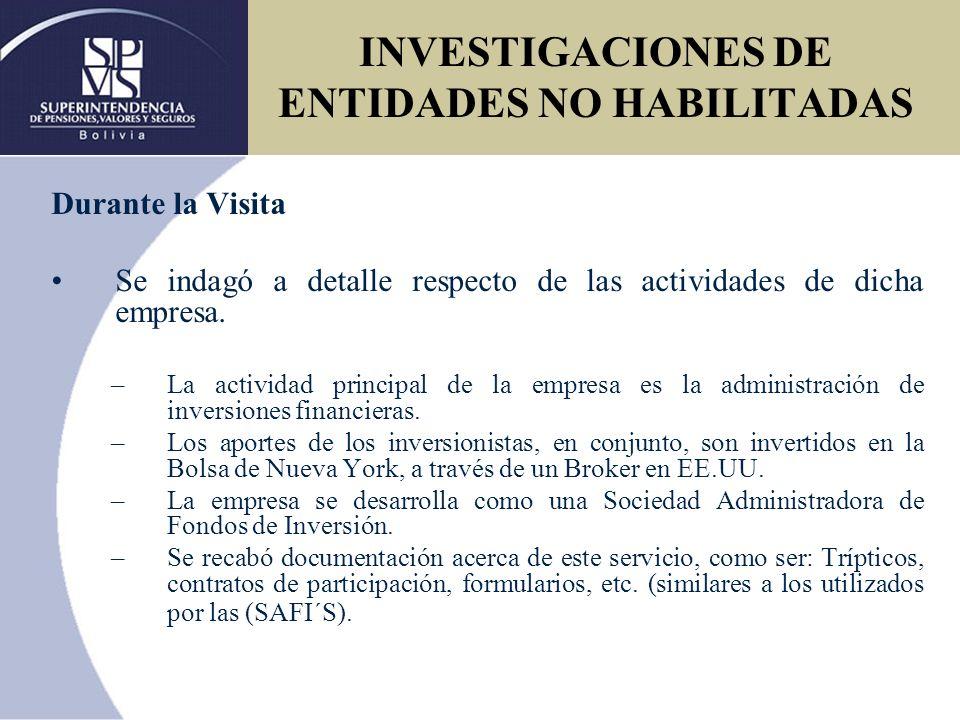 Posteriormente se realizó un informe técnico - legal dirigido al Intendente de Valores y al Director Legal de la Superintendencia de Pensiones Valores y Seguros, en el cual se desarrolló a detalle lo sucedido en la inspección.