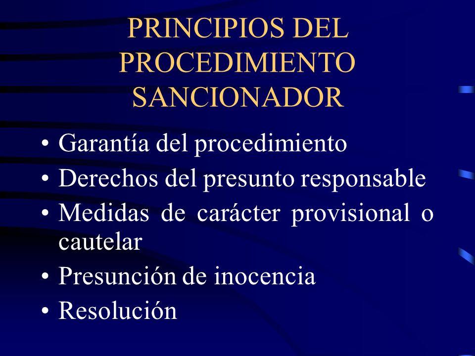 PRINCIPIOS DEL PROCEDIMIENTO SANCIONADOR Garantía del procedimiento Derechos del presunto responsable Medidas de carácter provisional o cautelar Presu