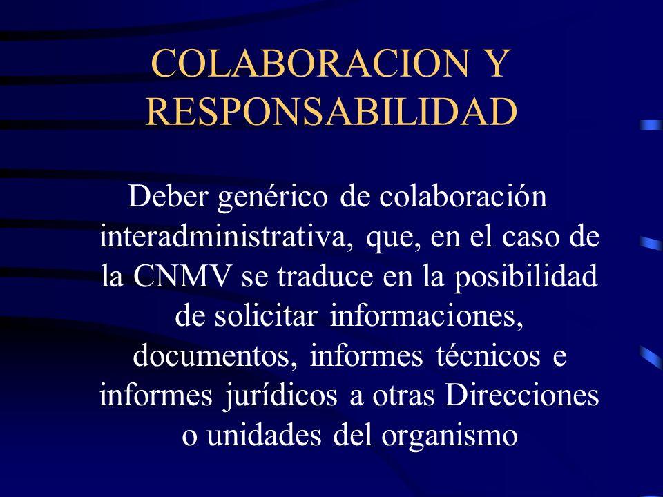 COLABORACION Y RESPONSABILIDAD Deber genérico de colaboración interadministrativa, que, en el caso de la CNMV se traduce en la posibilidad de solicita