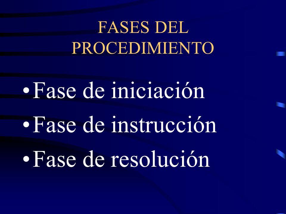 FASES DEL PROCEDIMIENTO Fase de iniciación Fase de instrucción Fase de resolución