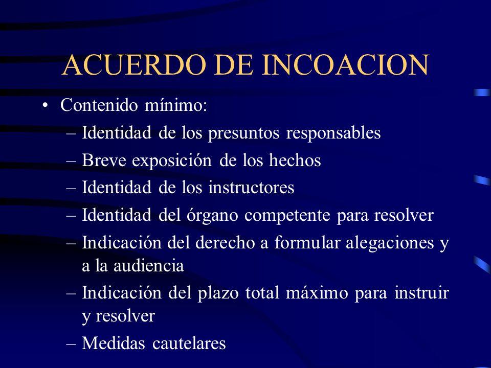ACUERDO DE INCOACION Contenido mínimo: –Identidad de los presuntos responsables –Breve exposición de los hechos –Identidad de los instructores –Identi