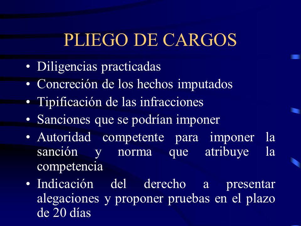 PLIEGO DE CARGOS Diligencias practicadas Concreción de los hechos imputados Tipificación de las infracciones Sanciones que se podrían imponer Autorida