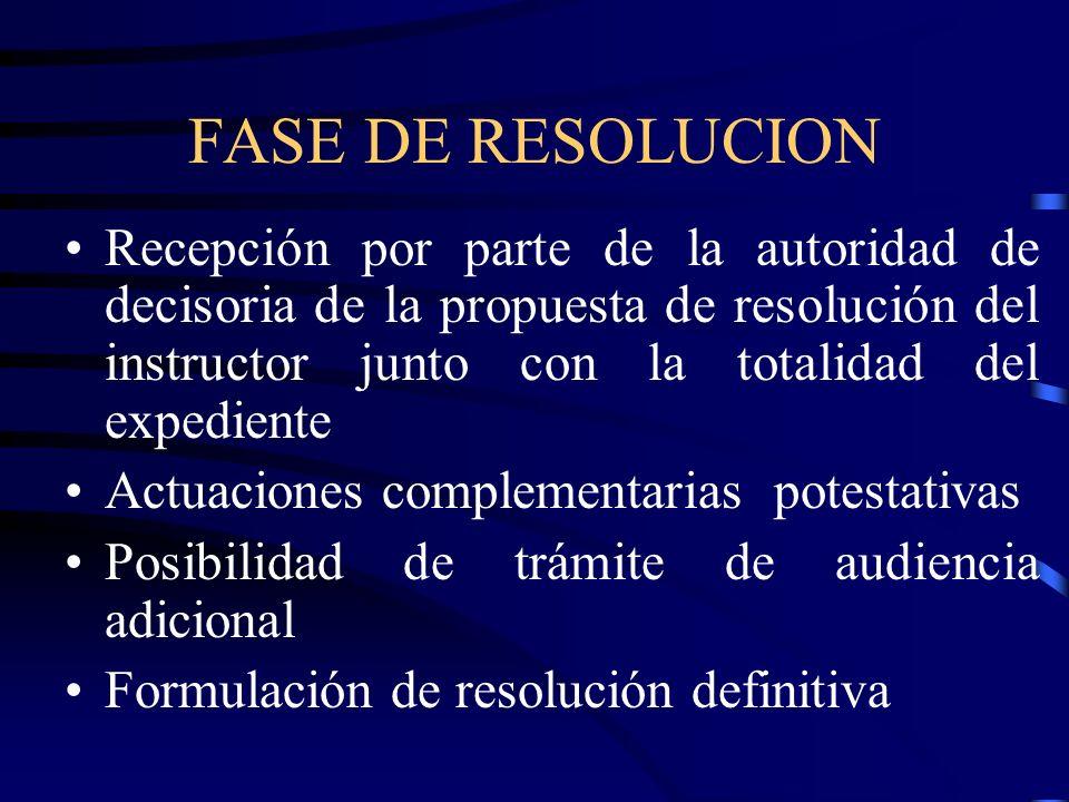 FASE DE RESOLUCION Recepción por parte de la autoridad de decisoria de la propuesta de resolución del instructor junto con la totalidad del expediente