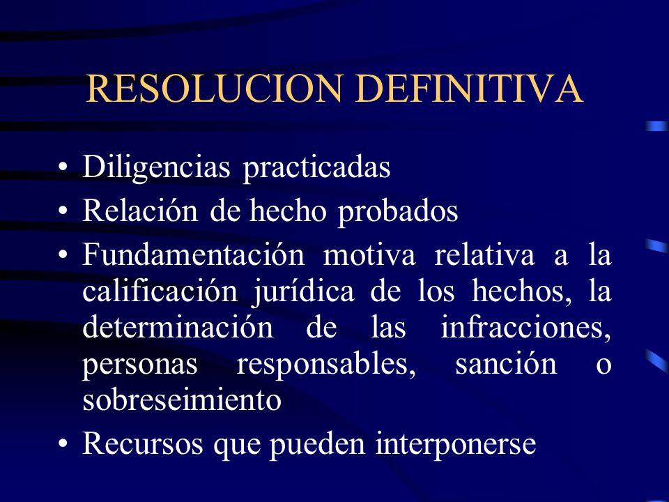 RESOLUCION DEFINITIVA Diligencias practicadas Relación de hecho probados Fundamentación motiva relativa a la calificación jurídica de los hechos, la d