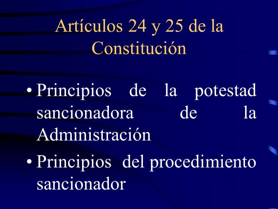 Artículos 24 y 25 de la Constitución Principios de la potestad sancionadora de la Administración Principios del procedimiento sancionador