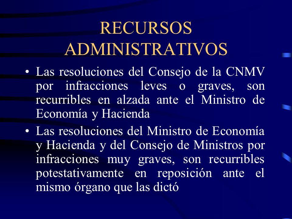 RECURSOS ADMINISTRATIVOS Las resoluciones del Consejo de la CNMV por infracciones leves o graves, son recurribles en alzada ante el Ministro de Econom