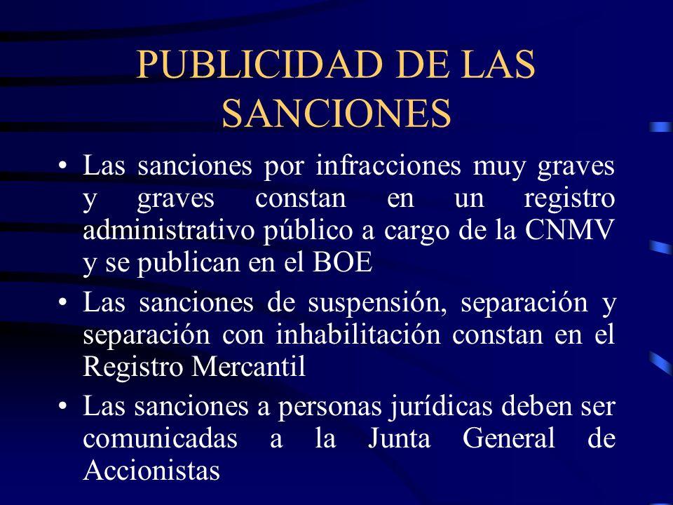 PUBLICIDAD DE LAS SANCIONES Las sanciones por infracciones muy graves y graves constan en un registro administrativo público a cargo de la CNMV y se p
