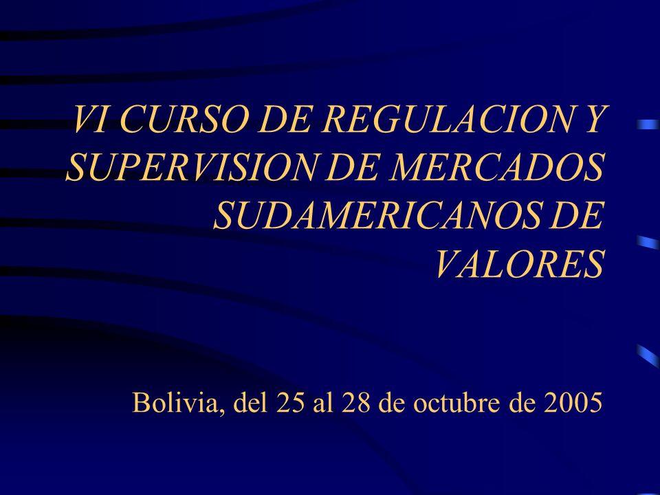 VI CURSO DE REGULACION Y SUPERVISION DE MERCADOS SUDAMERICANOS DE VALORES Bolivia, del 25 al 28 de octubre de 2005