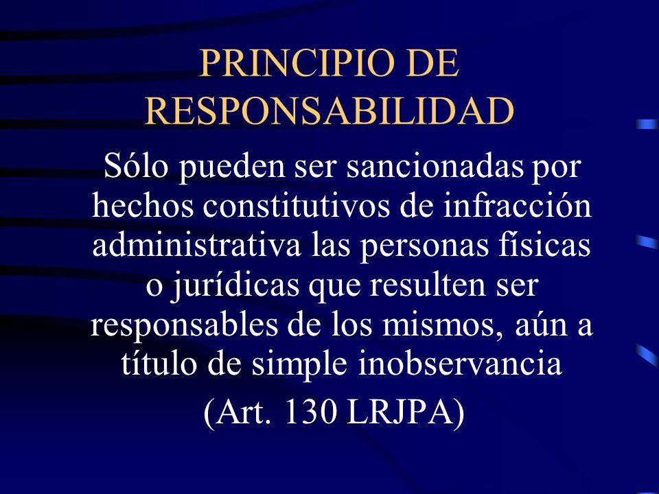 PRINCIPIO DE RESPONSABILIDAD Sólo pueden ser sancionadas por hechos constitutivos de infracción administrativa las personas físicas o jurídicas que re
