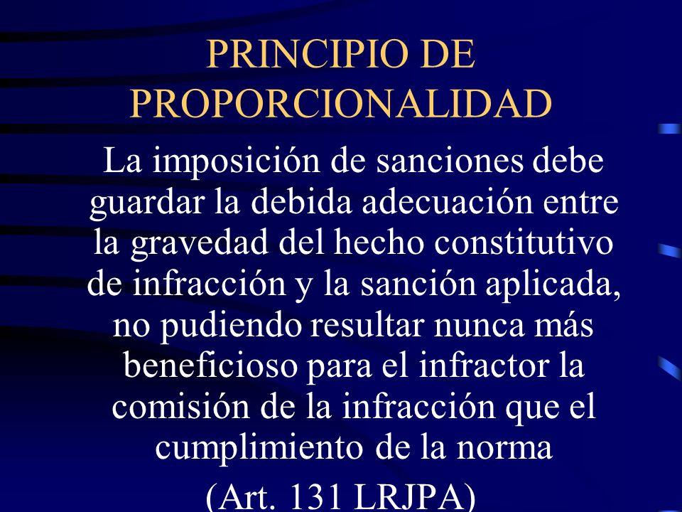 PRINCIPIO DE PROPORCIONALIDAD La imposición de sanciones debe guardar la debida adecuación entre la gravedad del hecho constitutivo de infracción y la