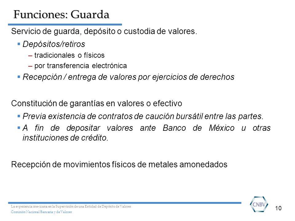 10 Funciones: Guarda Servicio de guarda, depósito o custodia de valores. Depósitos/retiros –tradicionales o físicos –por transferencia electrónica Rec