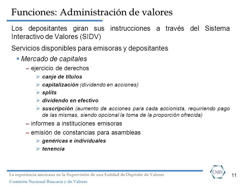 11 Funciones: Administración de valores Los depositantes giran sus instrucciones a través del Sistema Interactivo de Valores (SIDV) Servicios disponib