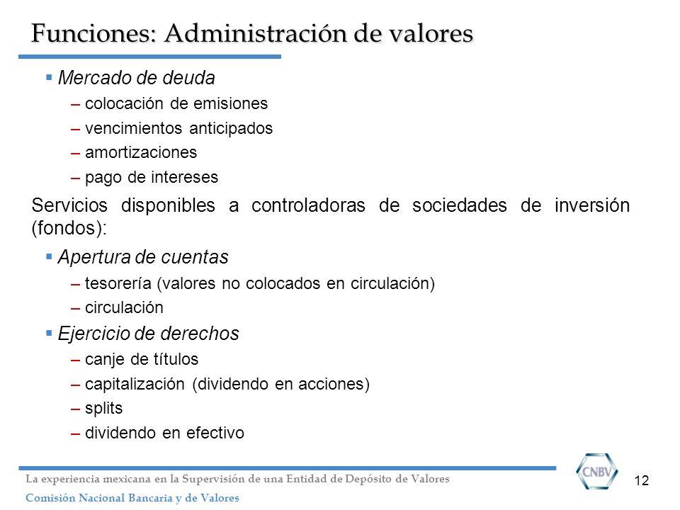 12 Funciones: Administración de valores Mercado de deuda –colocación de emisiones –vencimientos anticipados –amortizaciones –pago de intereses Servici