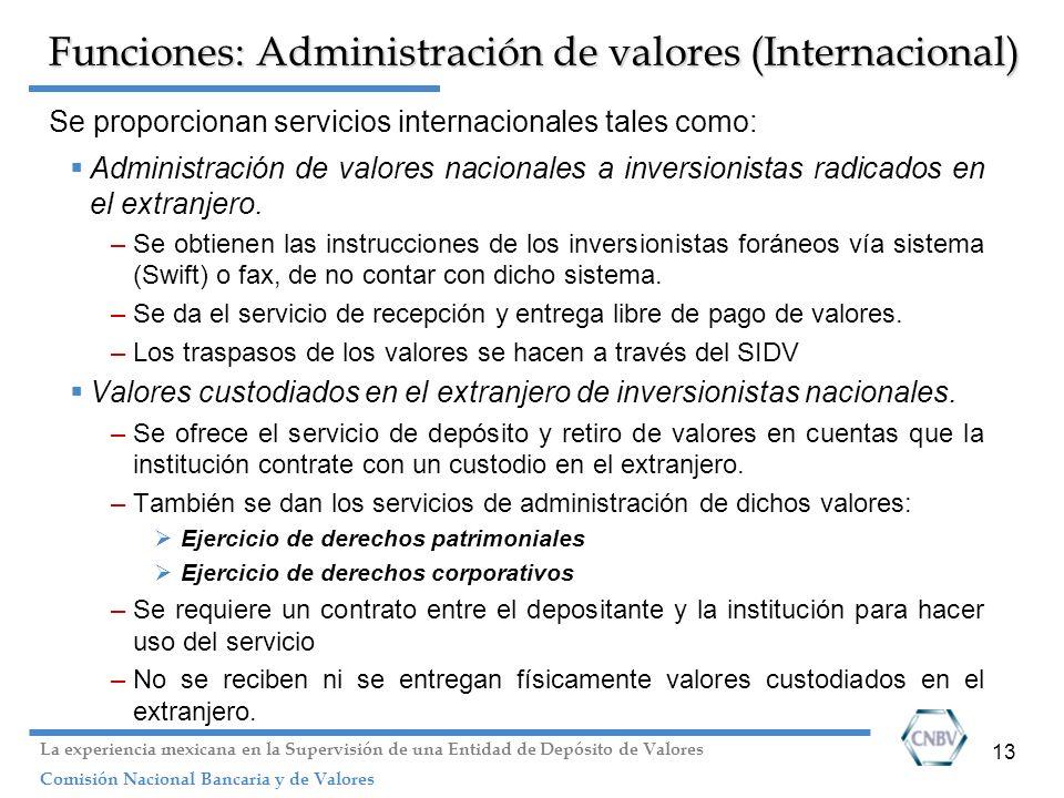13 Funciones: Administración de valores (Internacional) Se proporcionan servicios internacionales tales como: Administración de valores nacionales a i