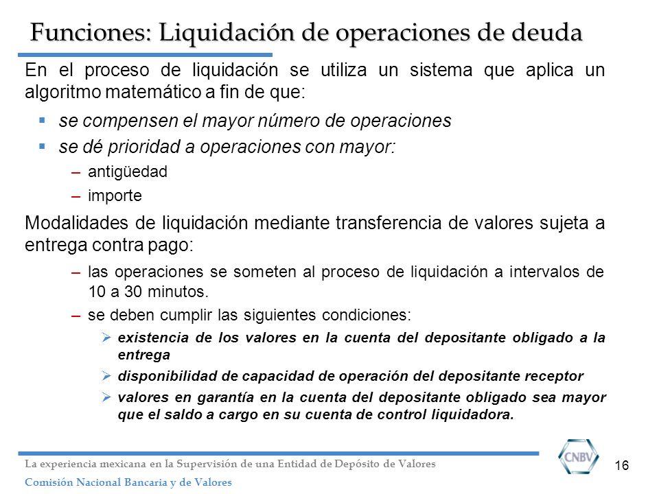 16 Funciones: Liquidación de operaciones de deuda En el proceso de liquidación se utiliza un sistema que aplica un algoritmo matemático a fin de que:
