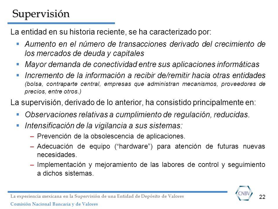 22 Supervisión La entidad en su historia reciente, se ha caracterizado por: Aumento en el número de transacciones derivado del crecimiento de los merc