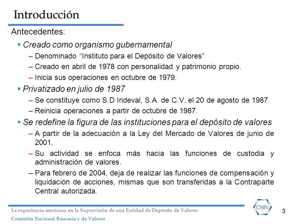 3 Introducción Antecedentes: Creado como organismo gubernamental –Denominado Instituto para el Depósito de Valores –Creado en abril de 1978 con person