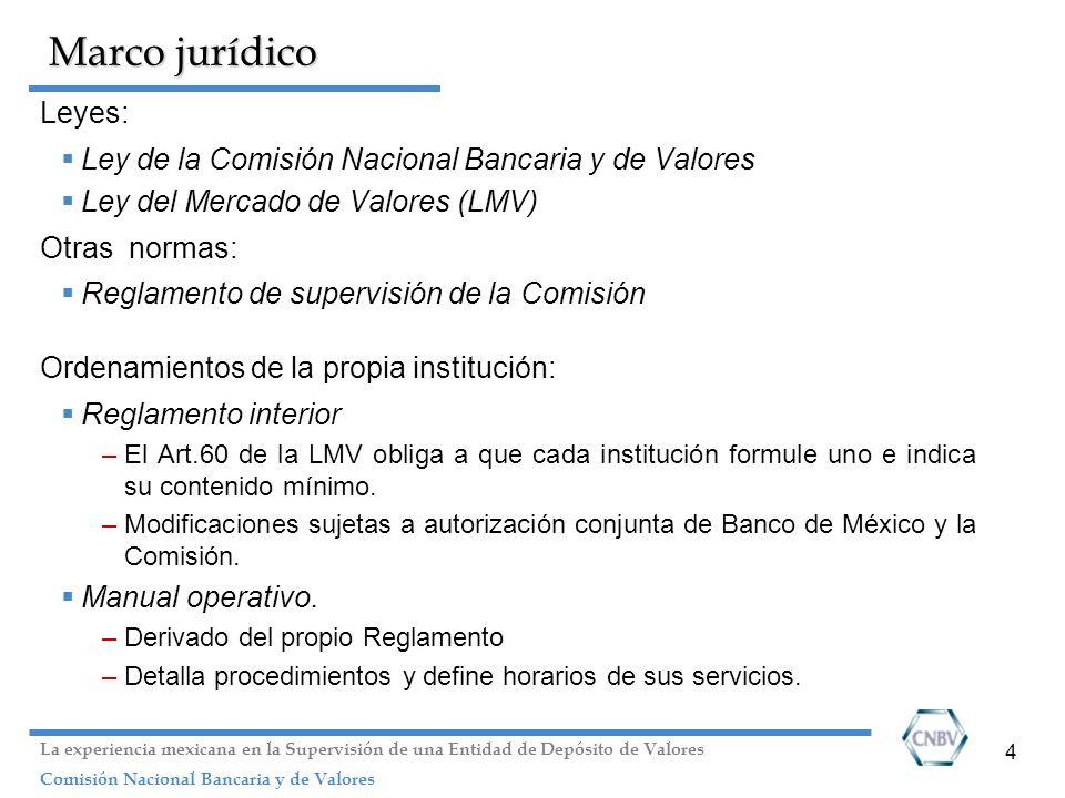4 Marco jurídico Leyes: Ley de la Comisión Nacional Bancaria y de Valores Ley del Mercado de Valores (LMV) Otras normas: Reglamento de supervisión de