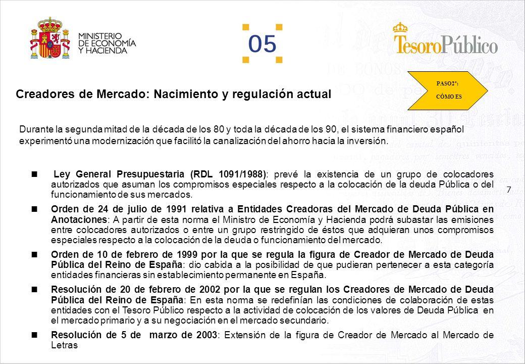 7 Creadores de Mercado: Nacimiento y regulación actual Durante la segunda mitad de la década de los 80 y toda la década de los 90, el sistema financiero español experimentó una modernización que facilitó la canalización del ahorro hacia la inversión.