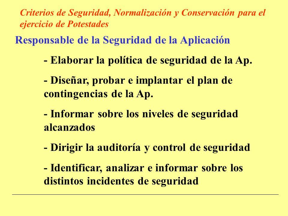 Responsable de la Seguridad de la Aplicación - Elaborar la política de seguridad de la Ap.
