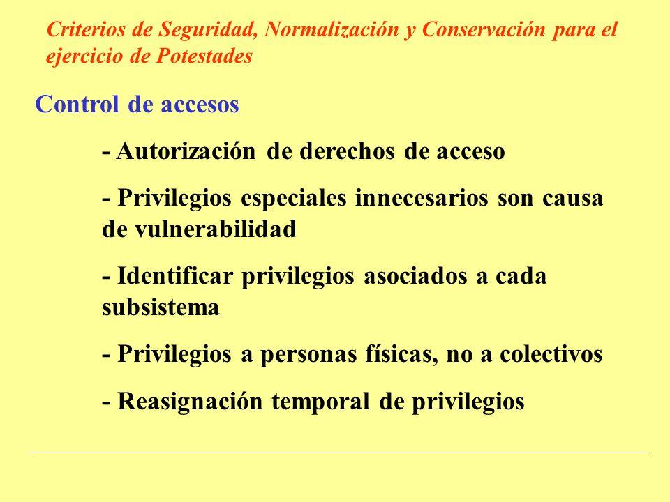 Control de accesos - Autorización de derechos de acceso - Privilegios especiales innecesarios son causa de vulnerabilidad - Identificar privilegios asociados a cada subsistema - Privilegios a personas físicas, no a colectivos - Reasignación temporal de privilegios Criterios de Seguridad, Normalización y Conservación para el ejercicio de Potestades