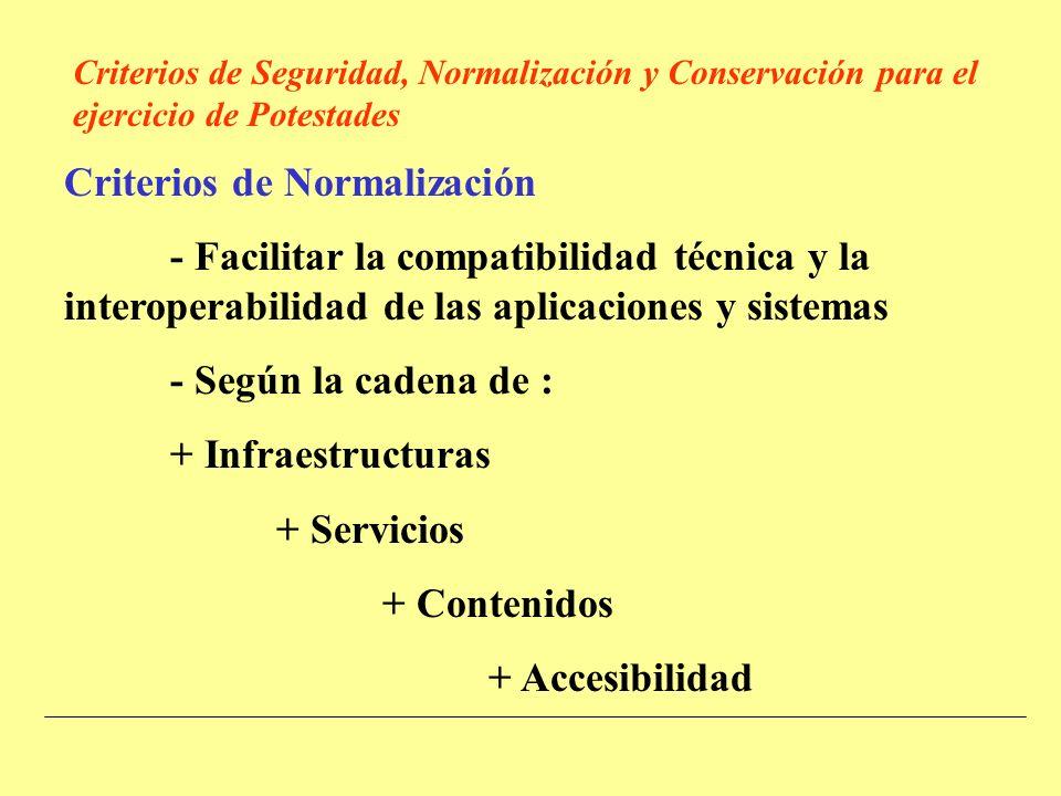 Criterios de Normalización - Facilitar la compatibilidad técnica y la interoperabilidad de las aplicaciones y sistemas - Según la cadena de : + Infraestructuras + Servicios + Contenidos + Accesibilidad Criterios de Seguridad, Normalización y Conservación para el ejercicio de Potestades