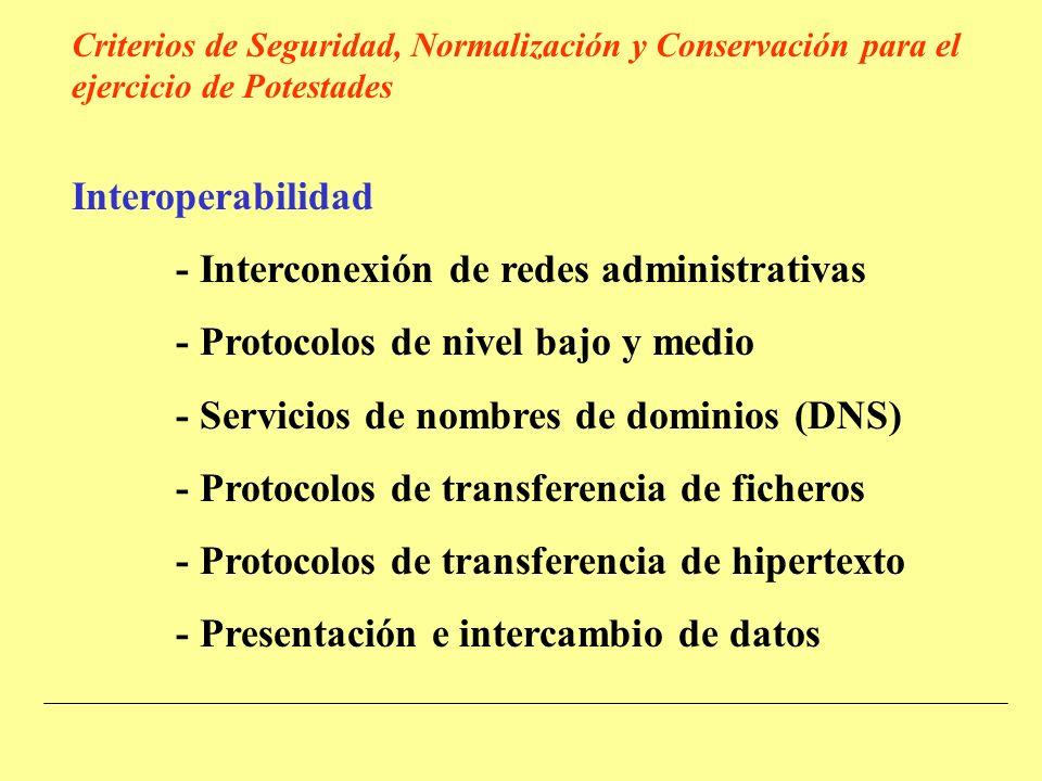 Interoperabilidad - Interconexión de redes administrativas - Protocolos de nivel bajo y medio - Servicios de nombres de dominios (DNS) - Protocolos de transferencia de ficheros - Protocolos de transferencia de hipertexto - Presentación e intercambio de datos Criterios de Seguridad, Normalización y Conservación para el ejercicio de Potestades