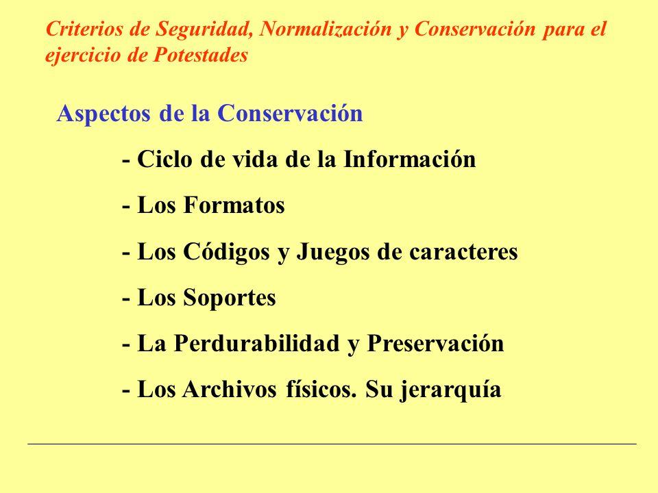 Aspectos de la Conservación - Ciclo de vida de la Información - Los Formatos - Los Códigos y Juegos de caracteres - Los Soportes - La Perdurabilidad y Preservación - Los Archivos físicos.