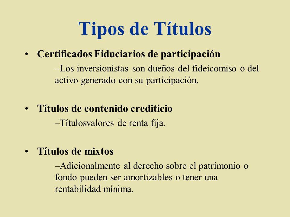 Tipos de Títulos Certificados Fiduciarios de participación –Los inversionistas son dueños del fideicomiso o del activo generado con su participación.