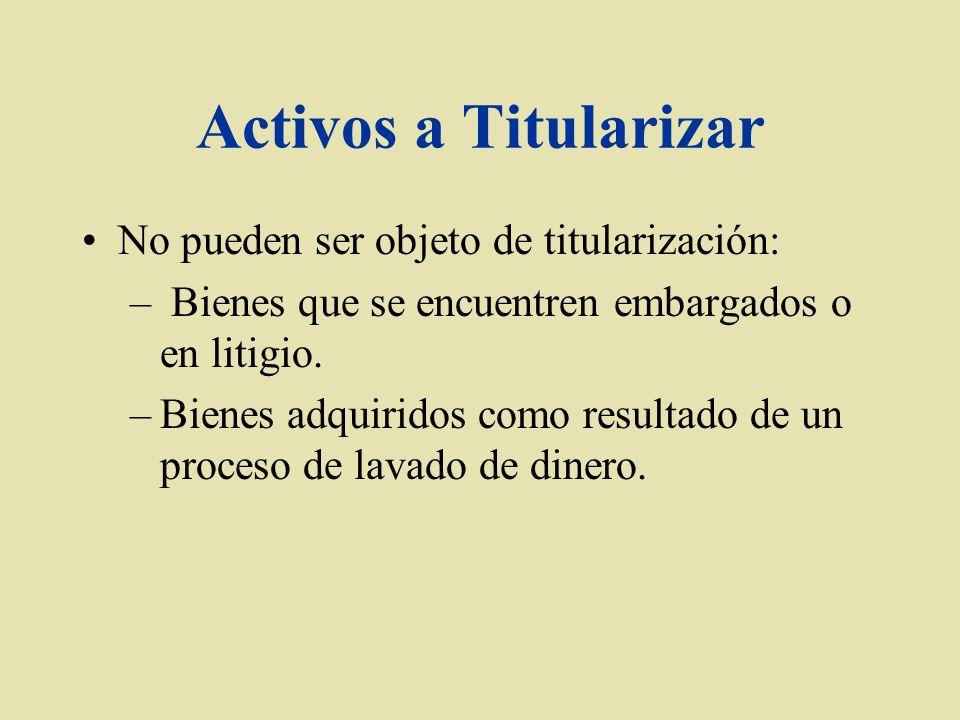 Activos a Titularizar No pueden ser objeto de titularización: – Bienes que se encuentren embargados o en litigio. –Bienes adquiridos como resultado de