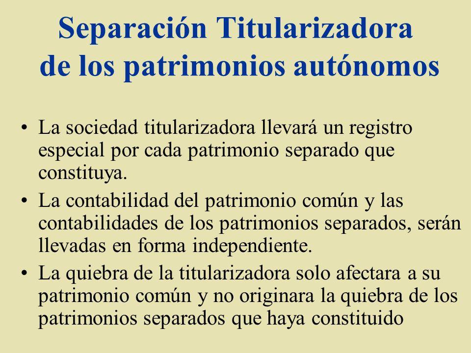 Separación Titularizadora de los patrimonios autónomos La sociedad titularizadora llevará un registro especial por cada patrimonio separado que consti