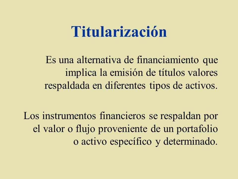 Titularización Es una alternativa de financiamiento que implica la emisión de títulos valores respaldada en diferentes tipos de activos. Los instrumen
