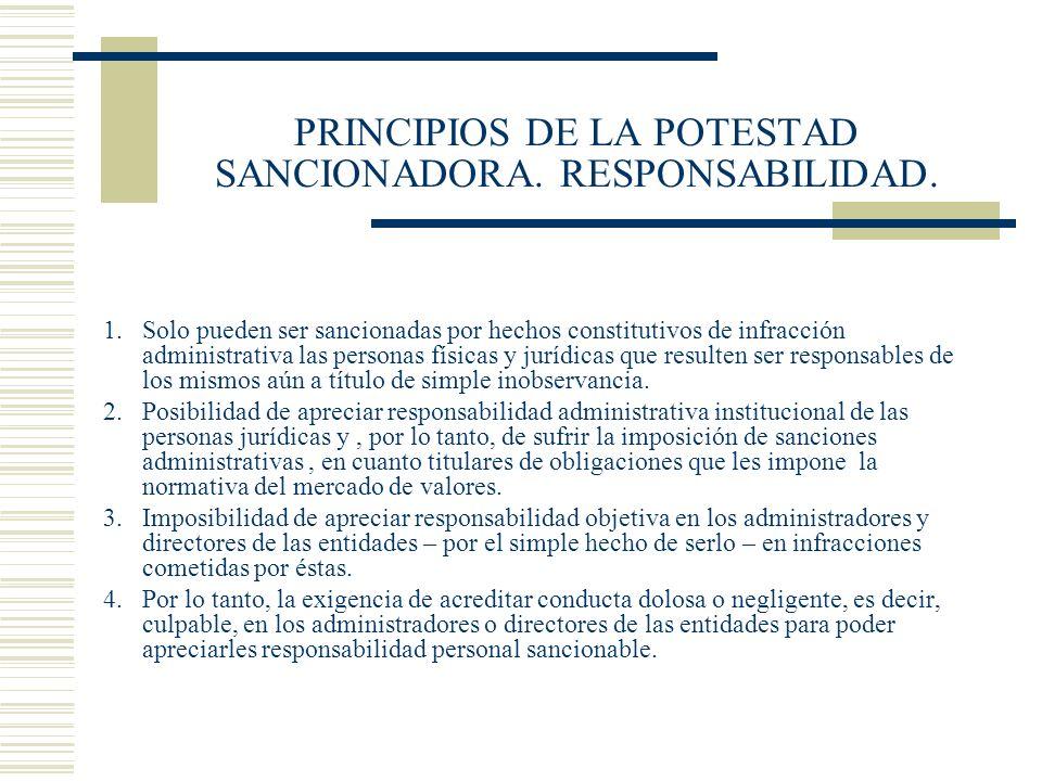 PRINCIPIOS DE LA POTESTAD SANCIONADORA. RESPONSABILIDAD. 1.Solo pueden ser sancionadas por hechos constitutivos de infracción administrativa las perso