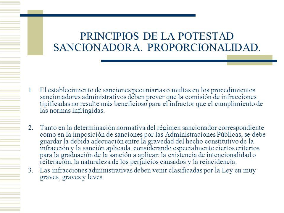 PRINCIPIOS DE LA POTESTAD SANCIONADORA. PROPORCIONALIDAD. 1.El establecimiento de sanciones pecuniarias o multas en los procedimientos sancionadores a