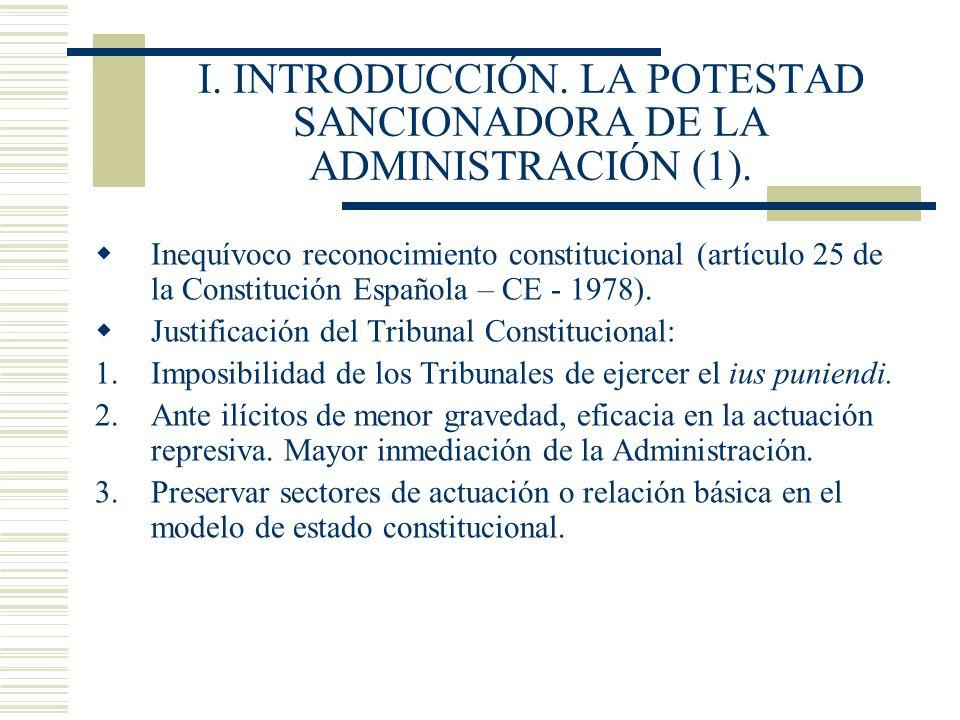 I. INTRODUCCIÓN. LA POTESTAD SANCIONADORA DE LA ADMINISTRACIÓN (1). Inequívoco reconocimiento constitucional (artículo 25 de la Constitución Española