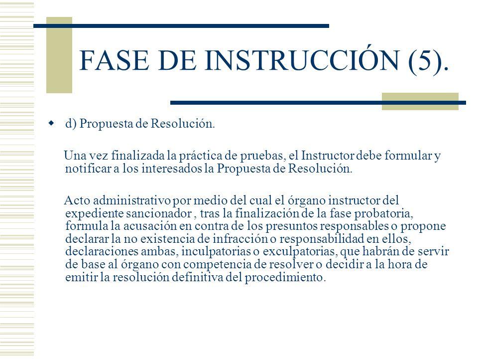 FASE DE INSTRUCCIÓN (5). d) Propuesta de Resolución. Una vez finalizada la práctica de pruebas, el Instructor debe formular y notificar a los interesa