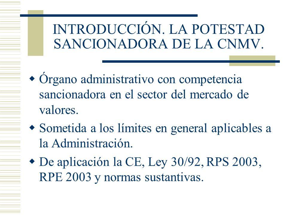 INTRODUCCIÓN. LA POTESTAD SANCIONADORA DE LA CNMV. Órgano administrativo con competencia sancionadora en el sector del mercado de valores. Sometida a