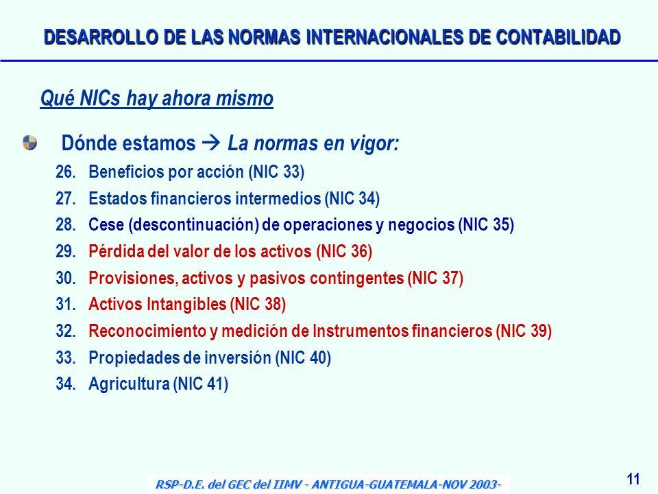 Dónde estamos La normas en vigor: 26.Beneficios por acción (NIC 33) 27.Estados financieros intermedios (NIC 34) 28.Cese (descontinuación) de operacion