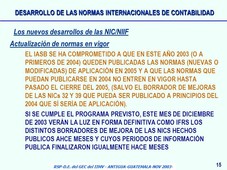 Actualización de normas en vigor EL IASB SE HA COMPROMETIDO A QUE EN ESTE AÑO 2003 (O A PRIMEROS DE 2004) QUEDEN PUBLICADAS LAS NORMAS (NUEVAS O MODIF