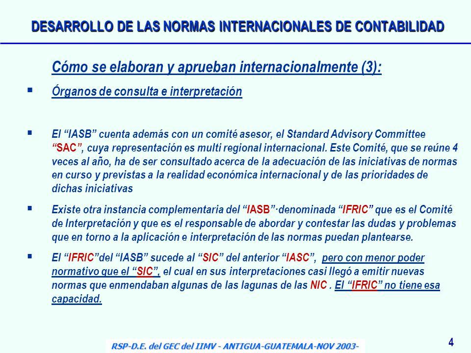 Cómo se elaboran y aprueban internacionalmente (3): Órganos de consulta e interpretación El IASB cuenta además con un comité asesor, el Standard Advis