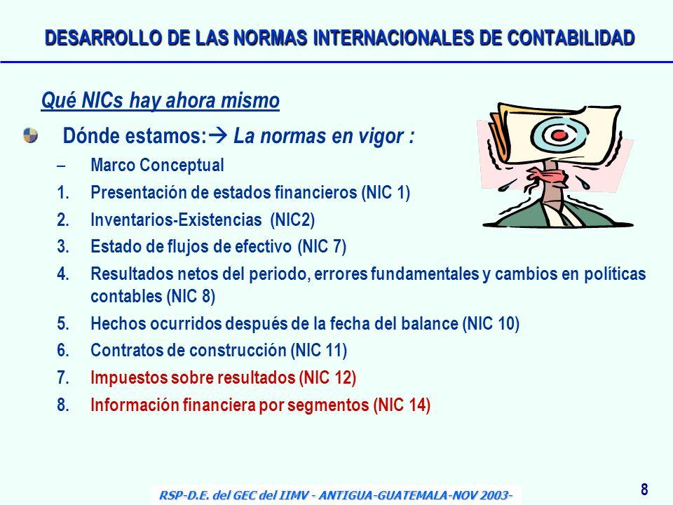 Dónde estamos: La normas en vigor : – Marco Conceptual 1.Presentación de estados financieros (NIC 1) 2.Inventarios-Existencias (NIC2) 3.Estado de fluj