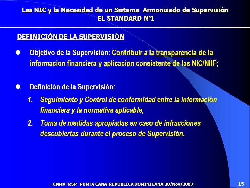 Las NIC y la Necesidad de un Sistema Armonizado de Supervisión EL STANDARD N º 1 Objetivo de la Supervisión: Contribuir a la transparencia de la información financiera y aplicación consistente de las NIC/NIIF; Definición de la Supervisión: 1.Seguimiento y Control de conformidad entre la información financiera y la normativa aplicable; 2.Toma de medidas apropiadas en caso de infracciones descubiertas durante el proceso de Supervisión.
