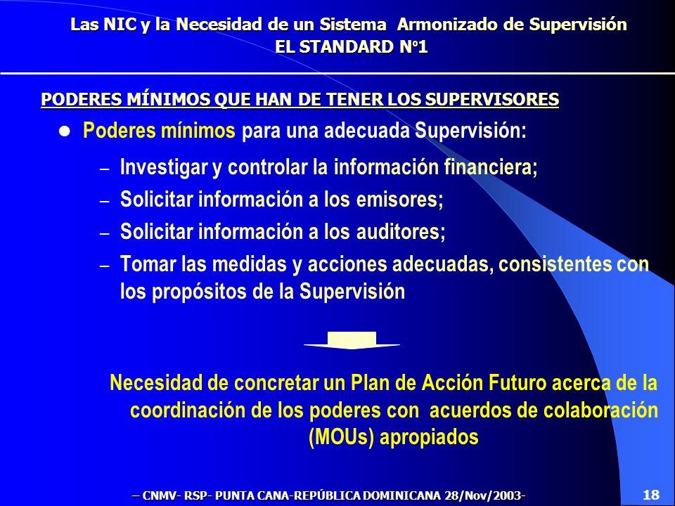 Las NIC y la Necesidad de un Sistema Armonizado de Supervisión EL STANDARD N º 1 ¿Cabe delegar la Supervisión en otros organismos? Sí ¿Cabe delegar la