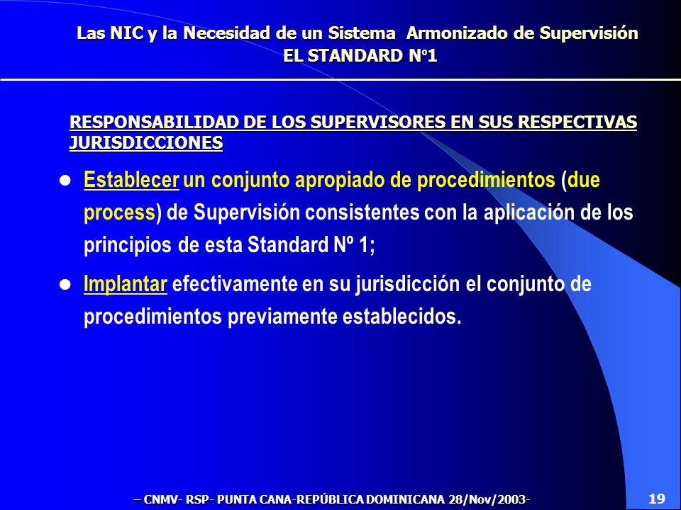 Las NIC y la Necesidad de un Sistema Armonizado de Supervisión EL STANDARD N º 1 Establecer un conjunto apropiado de procedimientos (due process) de Supervisión consistentes con la aplicación de los principios de esta Standard Nº 1; Implantar efectivamente en su jurisdicción el conjunto de procedimientos previamente establecidos.