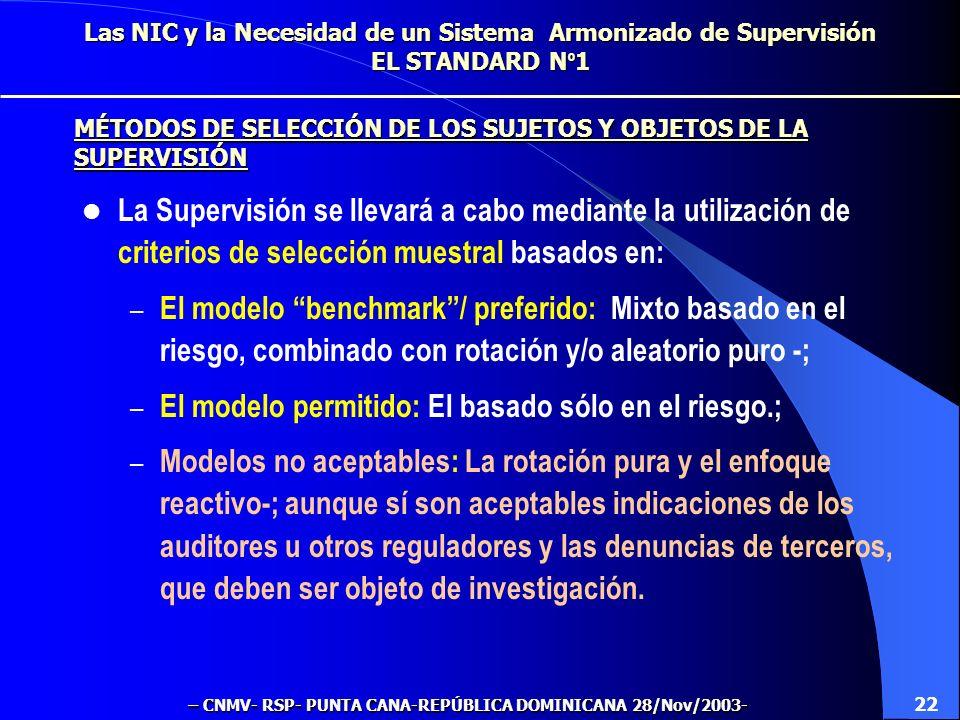 Las NIC y la Necesidad de un Sistema Armonizado de Supervisión EL STANDARD N º 1 La Supervisión se llevará a cabo mediante la utilización de criterios de selección muestral basados en: – El modelo benchmark/ preferido: Mixto basado en el riesgo, combinado con rotación y/o aleatorio puro -; – El modelo permitido: El basado sólo en el riesgo.; – Modelos no aceptables: La rotación pura y el enfoque reactivo-; aunque sí son aceptables indicaciones de los auditores u otros reguladores y las denuncias de terceros, que deben ser objeto de investigación.