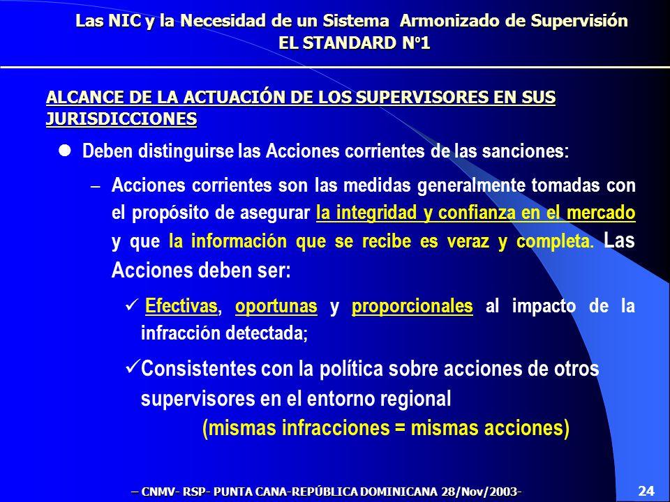 Las NIC y la Necesidad de un Sistema Armonizado de Supervisión EL STANDARD N º 1 Una vez detectadas infracciones materiales, los supervisores deben to