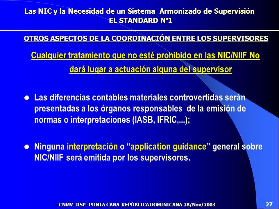 Las NIC y la Necesidad de un Sistema Armonizado de Supervisión EL STANDARD N º 1 DEBE HABER Coordinación ex-ante y ex-post de las decisiones tomadas p